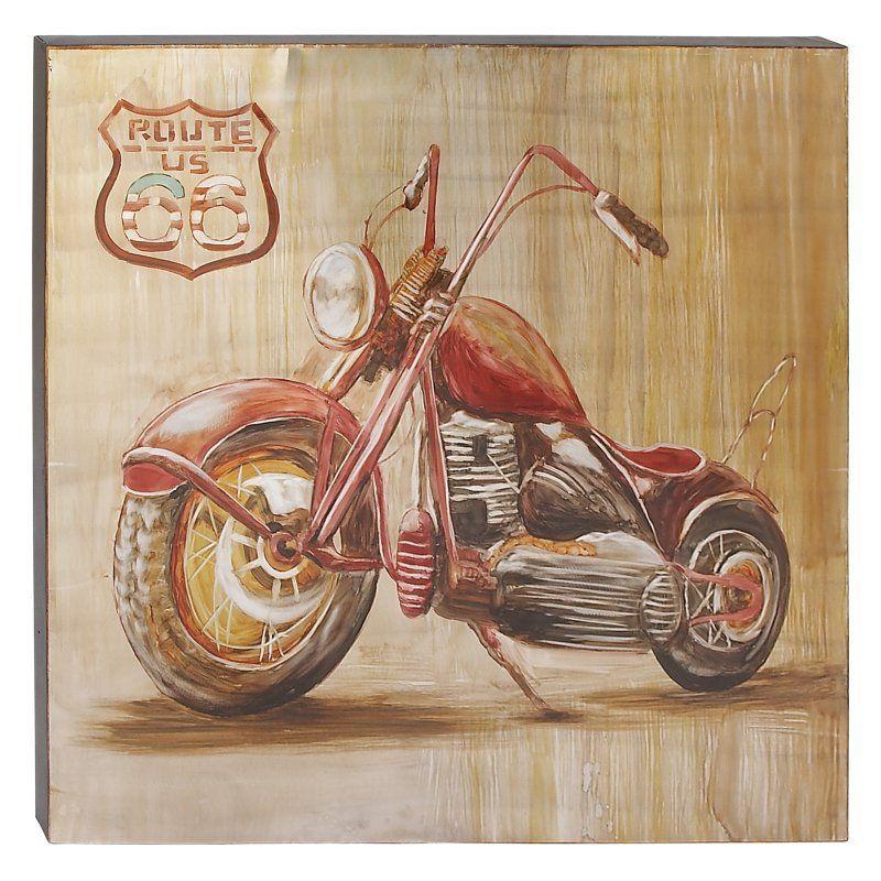 DecMode Vintage Red Motorcycle Wall Art - 85934