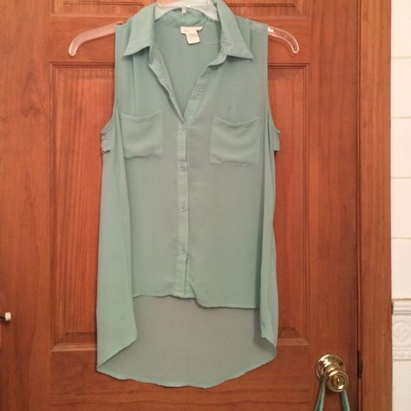 High low blouse Sheer baby blue blouse by sans souci. Button up with pockets on the front. Preloved, in good condition, small stain on the inside of shirt, not noticeable when worn. Cute metal dots on back of shirt. High low design, very trendy. Ask if you have any questions :) Sans Souci Tops Blouses