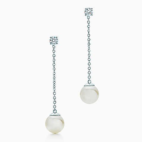 fb66d8a0ebac0c Tiffany Signature™ earrings in 18k white gold with Akoya pearls and  diamonds.