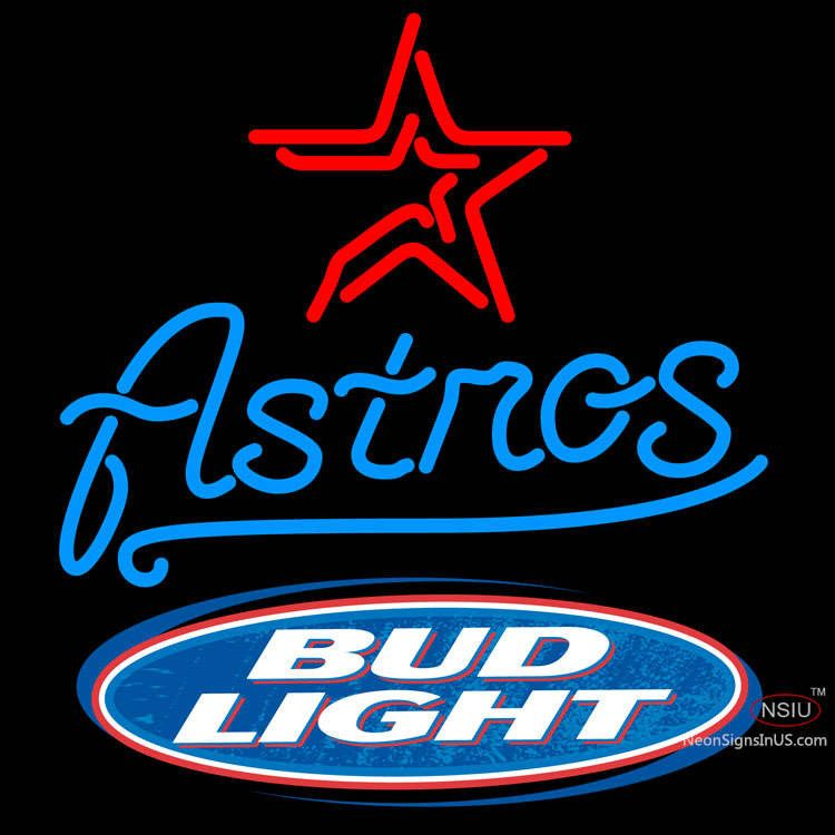 Bud Light Logo Houston Astros Mlb Real Neon Glass Tube Neon Sign X