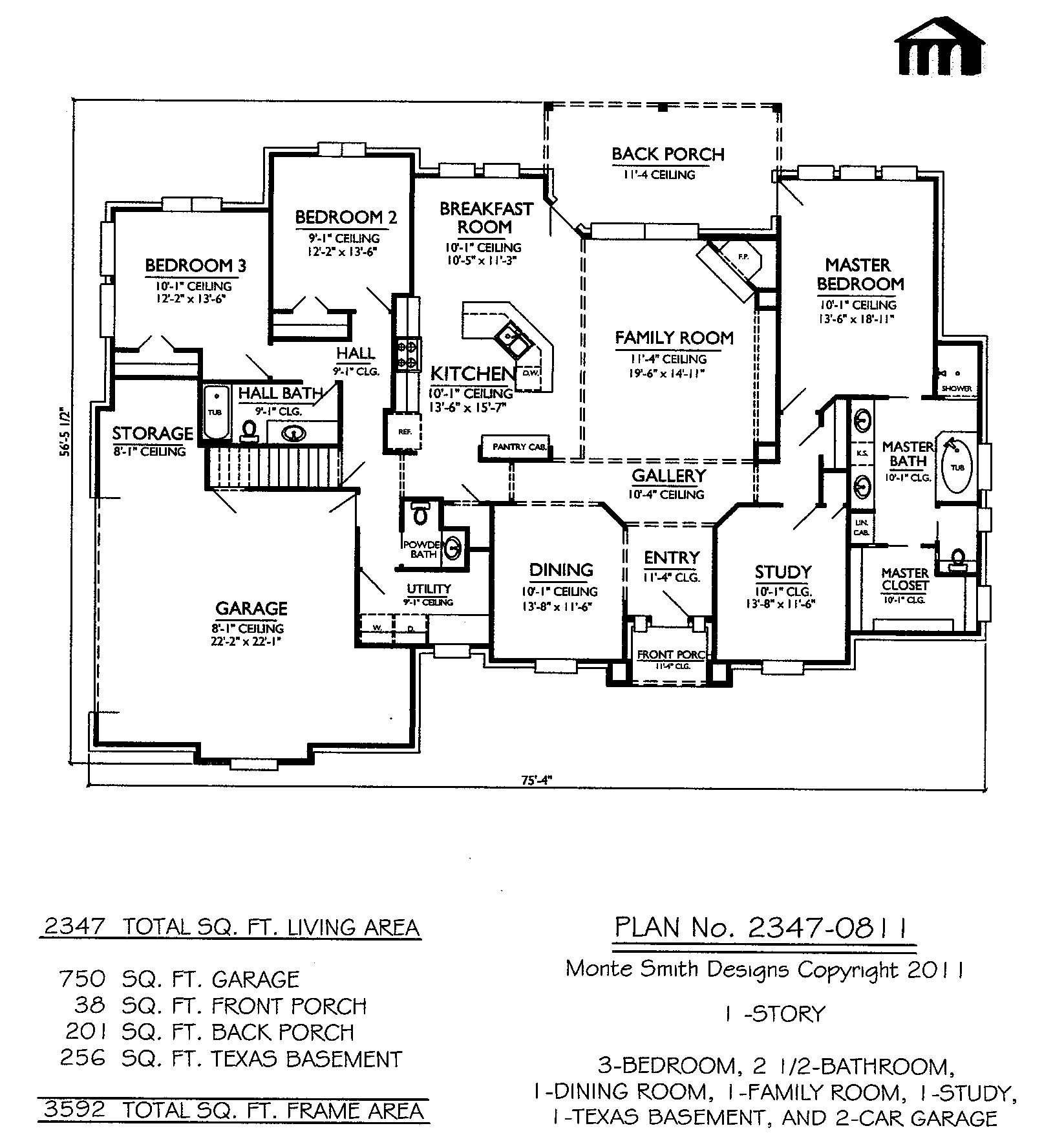 2347 0811 Sq Feet 3 Bedroom 1 Story House Plan House Plans One Bedroom House Plans One Bedroom House