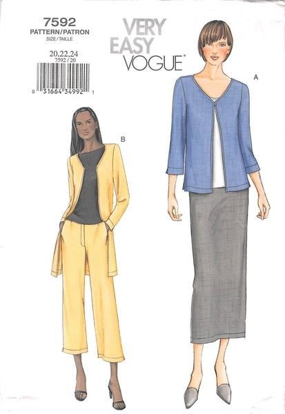 Loose-fitting, self-lined, above or below hip jacket has side slits, front button/loop closing, below elbow or long sleeves with slit and top-stitching. Semi-fitted, slightly tapered skirt, above ankl
