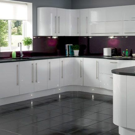 hygena sanvito white this stunning contemporary kitchen features curved units - White Gloss Kitchen Cabinets