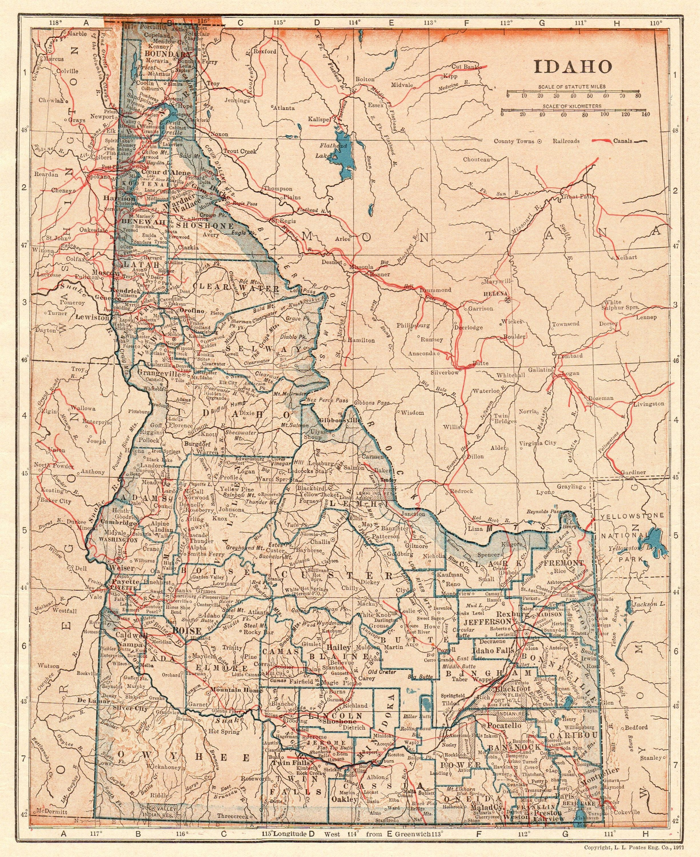 1921 Antique IDAHO Map of Idaho State Map Gallery Wall Art Home ...