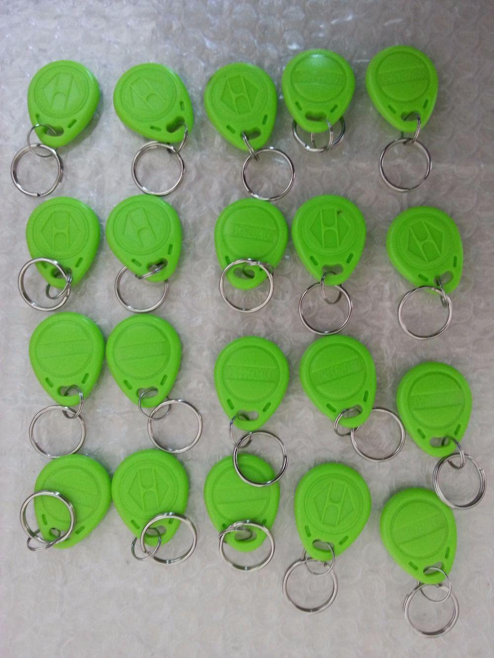 100pcs Em Id Keyfobs Rfid Tag Key Ring Card 125khz Proximity Token Access Green Color For Door Lock Access Controller Read Access Control Rfid Tag Green Colors
