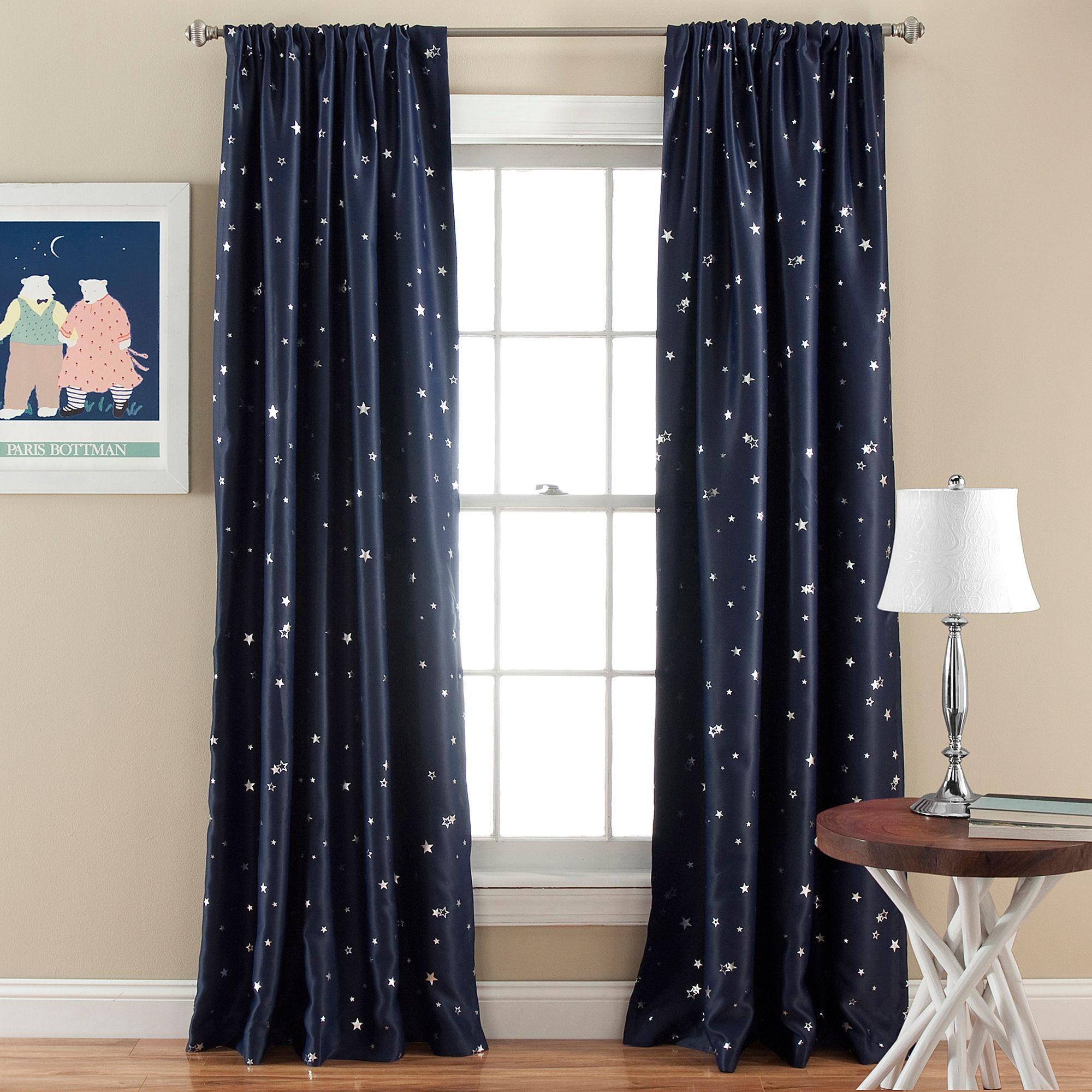 Lush Decor Star Blackout 84 Inch Rod Pocket Window Curtain Panel