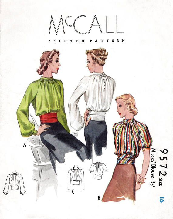 1930s 30s McCall 9572 vintage sewing pattern women\'s blouse bishop ...