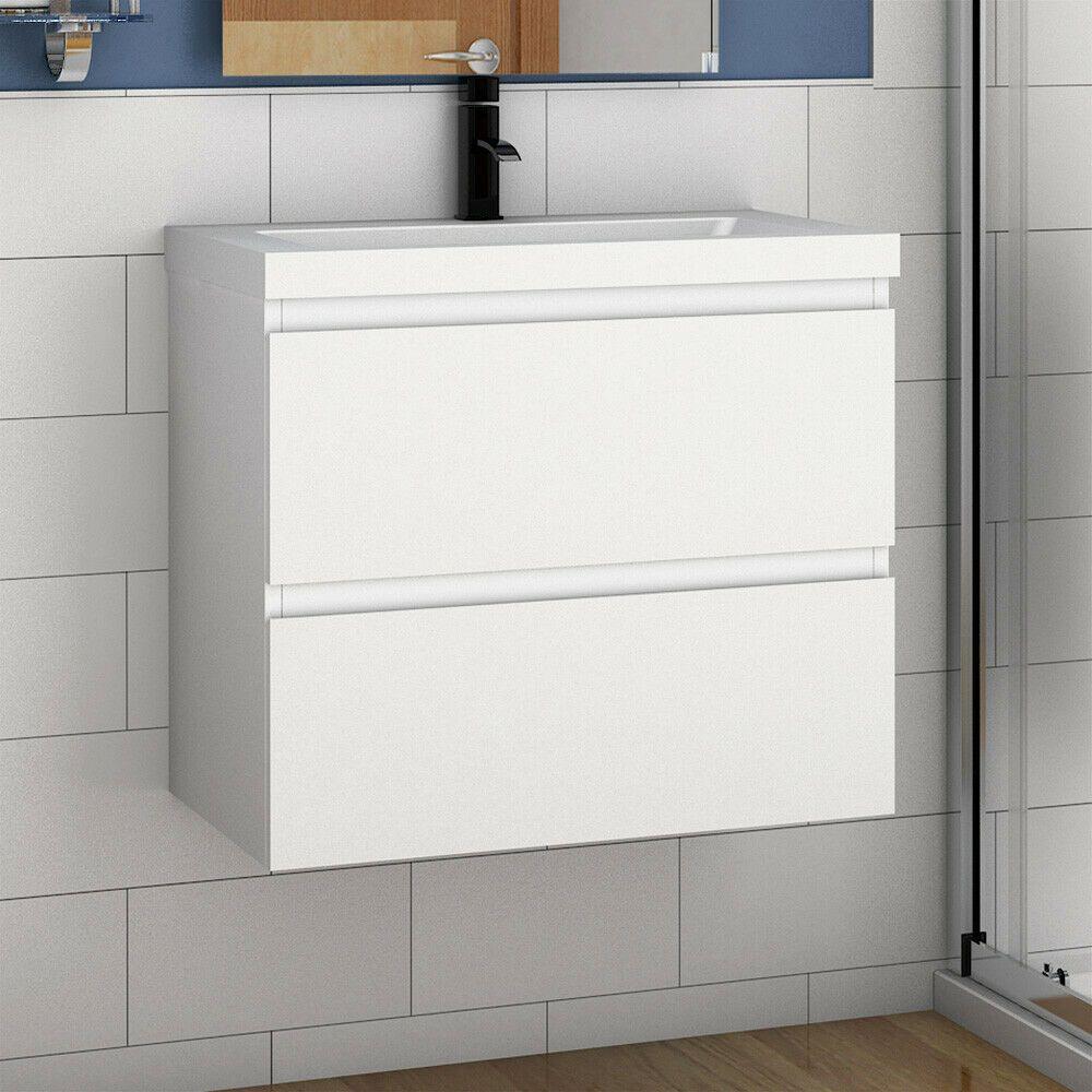 Badmobel Set 50 60cm Waschtisch Vormontieren Unterschrank Becken Matt Weiss Eiche In 2020 Bad Set Waschtisch Unterschrank