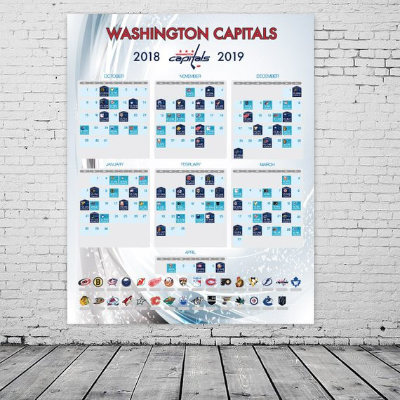 image about Washington Capitals Schedule Printable called Washington Capitals 2018-2019 Time Agenda, NHL poster