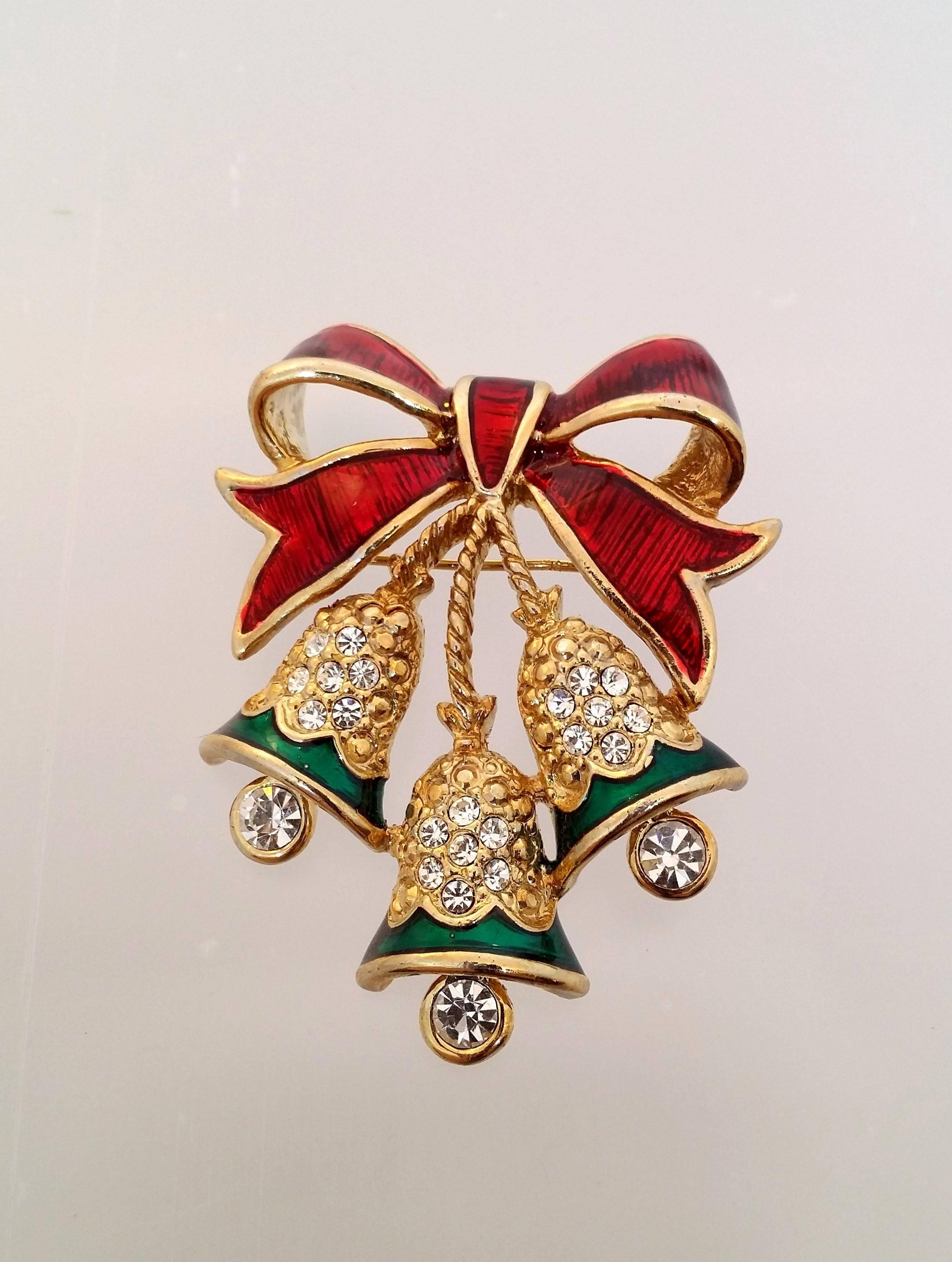 Rhinestone Christmas Bell Pin Enamel Xmas Bells u0026 Bow Brooch Holiday Costume Jewelry by : holiday costume jewelry  - Germanpascual.Com