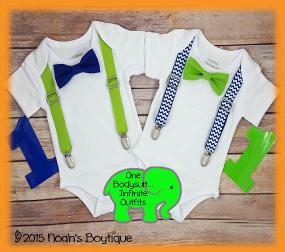 First Birthday Boy Outfit Royal Blue Lime Baby Boy Clothes