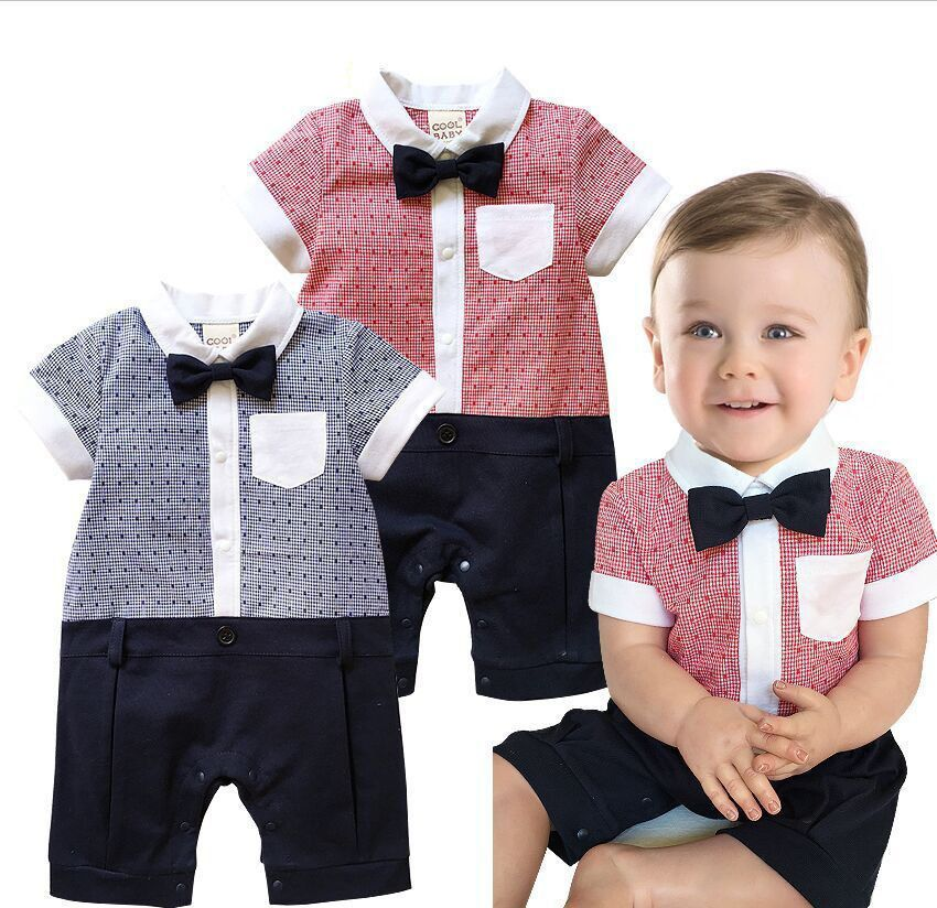 f20c212ff652b Boys Baby Toddler Kids Infant Gentleman Formal Bodysuit Clothing ...