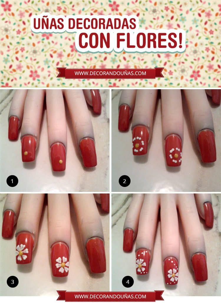 Tutorial paso a paso para tener uñas decoradas con Flores ...