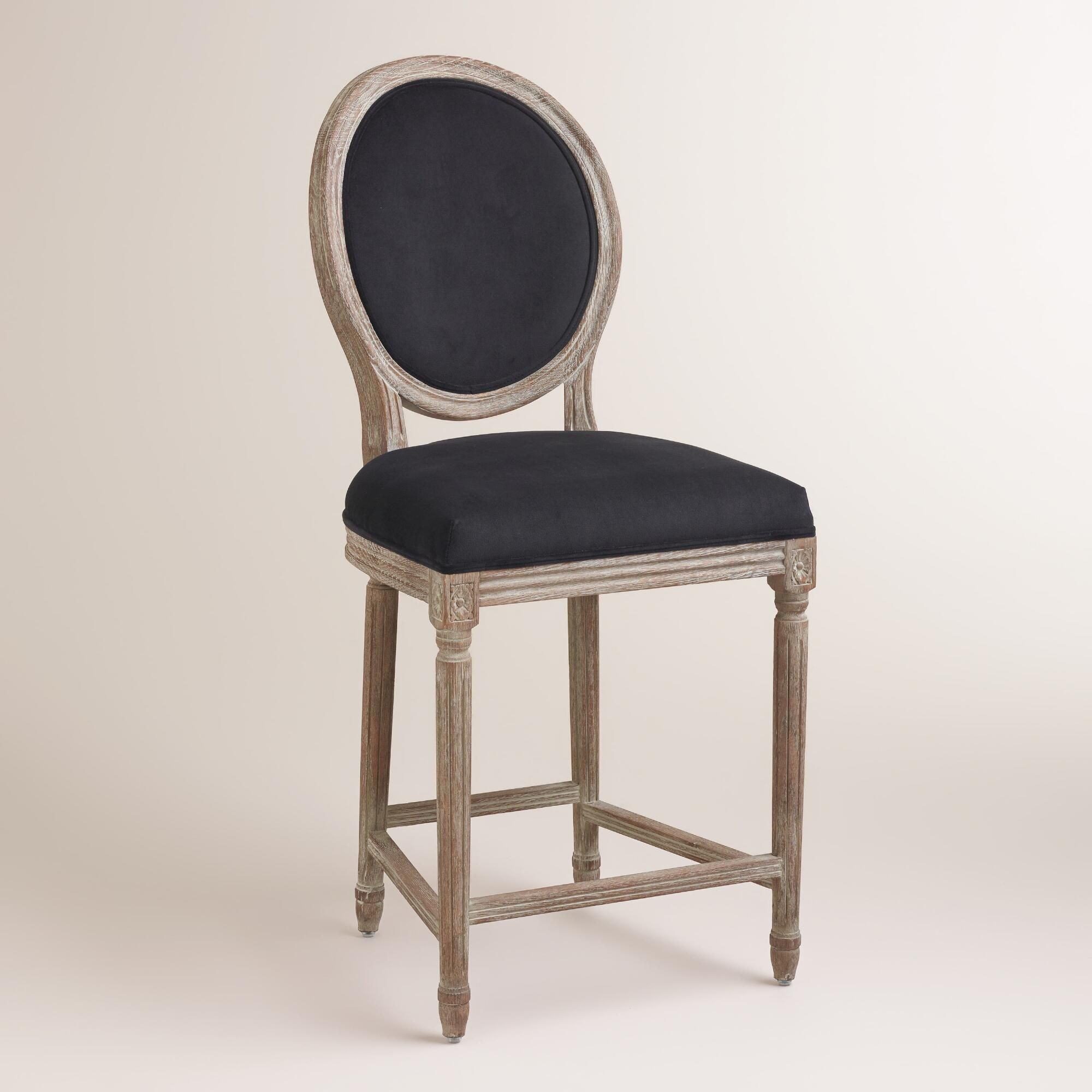 Country crafted wooden chair and stool ebth - A Classic With A Round Back Silhouette Our Black Paige Counter Stool Is Crafted Of
