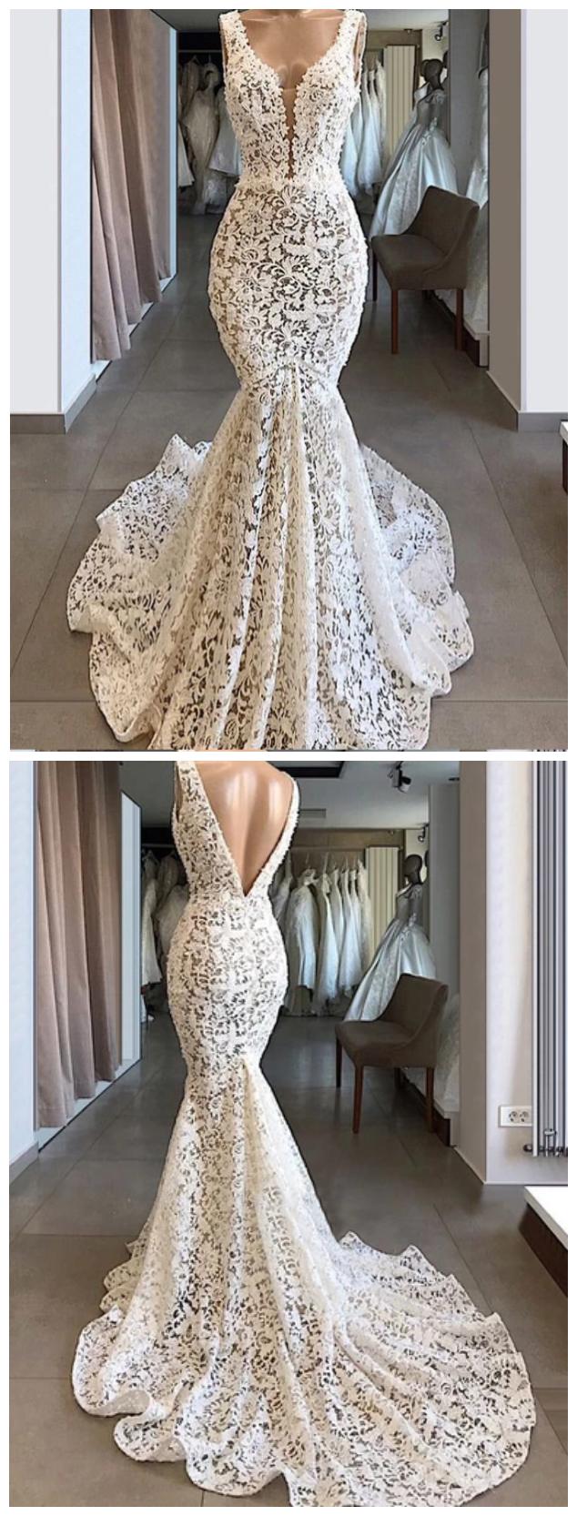 Ivory Lace Mermaid Trumpet Vintage Formal Wedding Dresses Short Prom Dress Chiffon Evening Dresses Cheap Formal Dresses Chiffon Prom Dress [ 1500 x 1000 Pixel ]