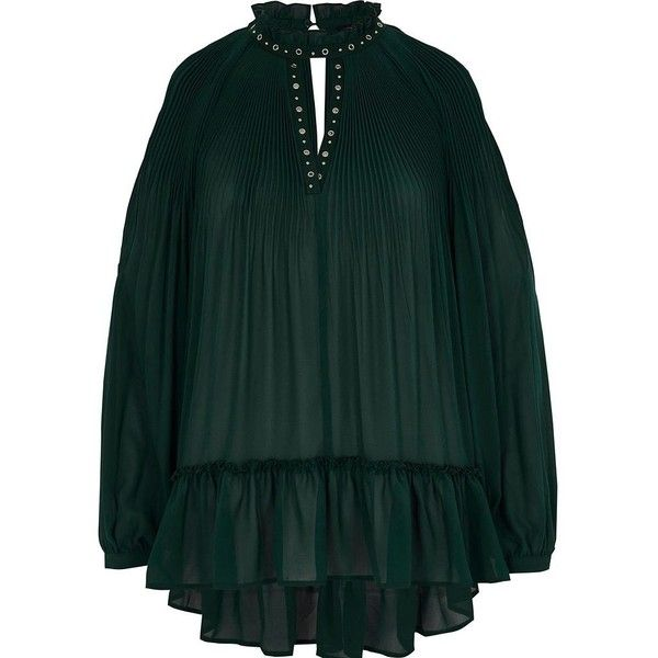9a0fd4eda2e River Island Green chiffon pleated eyelet detail blouse ( 70) ❤ liked on Polyvore  featuring