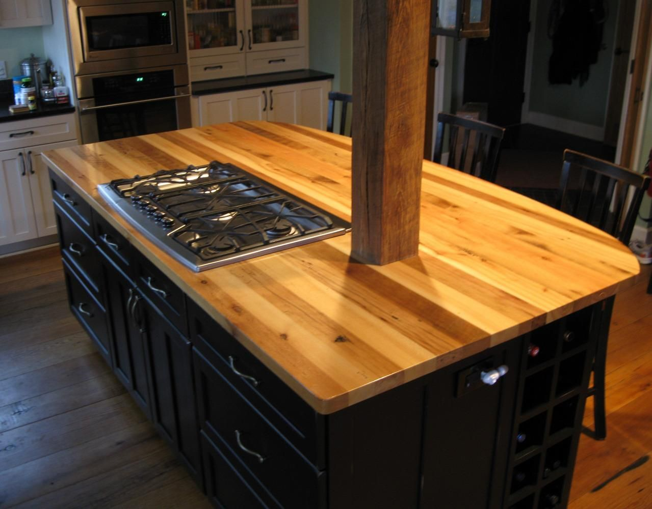 Micheleu0027s Kitchen Island Is Topped With American Gothic Reclaimed Mixed  Hardwoods.