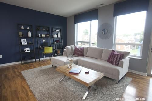 Take A Look Inside The New Vue 180 Apartments Slideshow Video Cincinnati Business Courier Blue Accent Wall Living Room Blue Accent Walls Accent Walls In Living Room