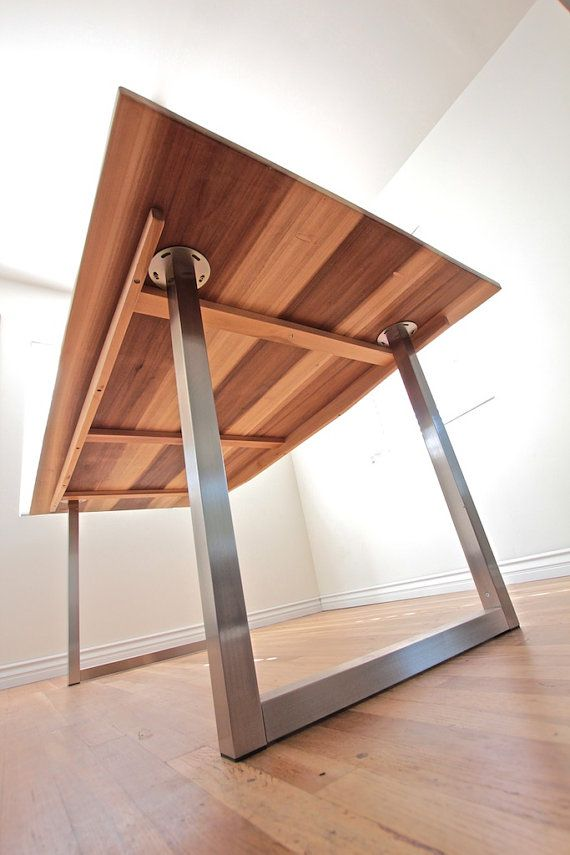 Modern Industrial Minimalist Dining Table // Office Desk // Sun Tanned Wood  And Steel