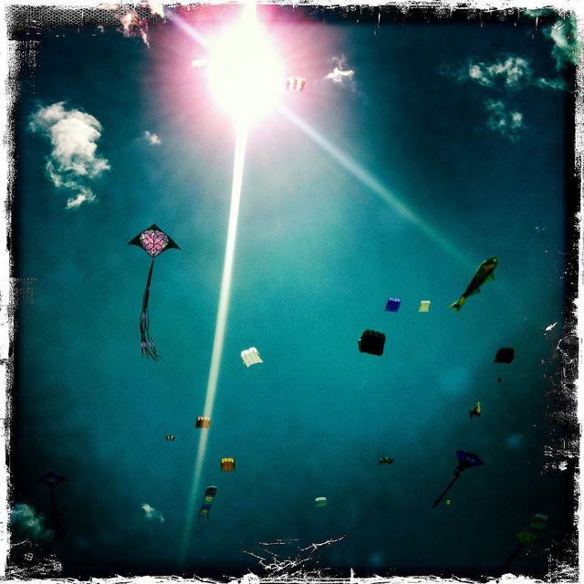 Kite watching under water
