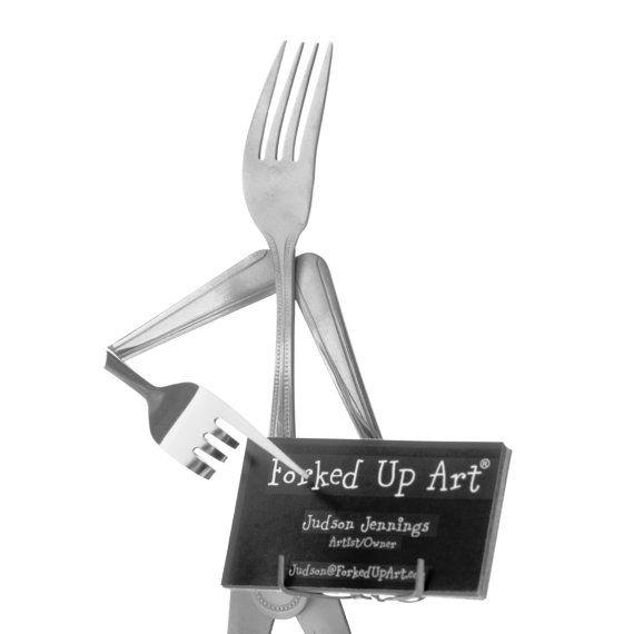 Business Card Holder  Fork by ForkedUpArt on Etsy