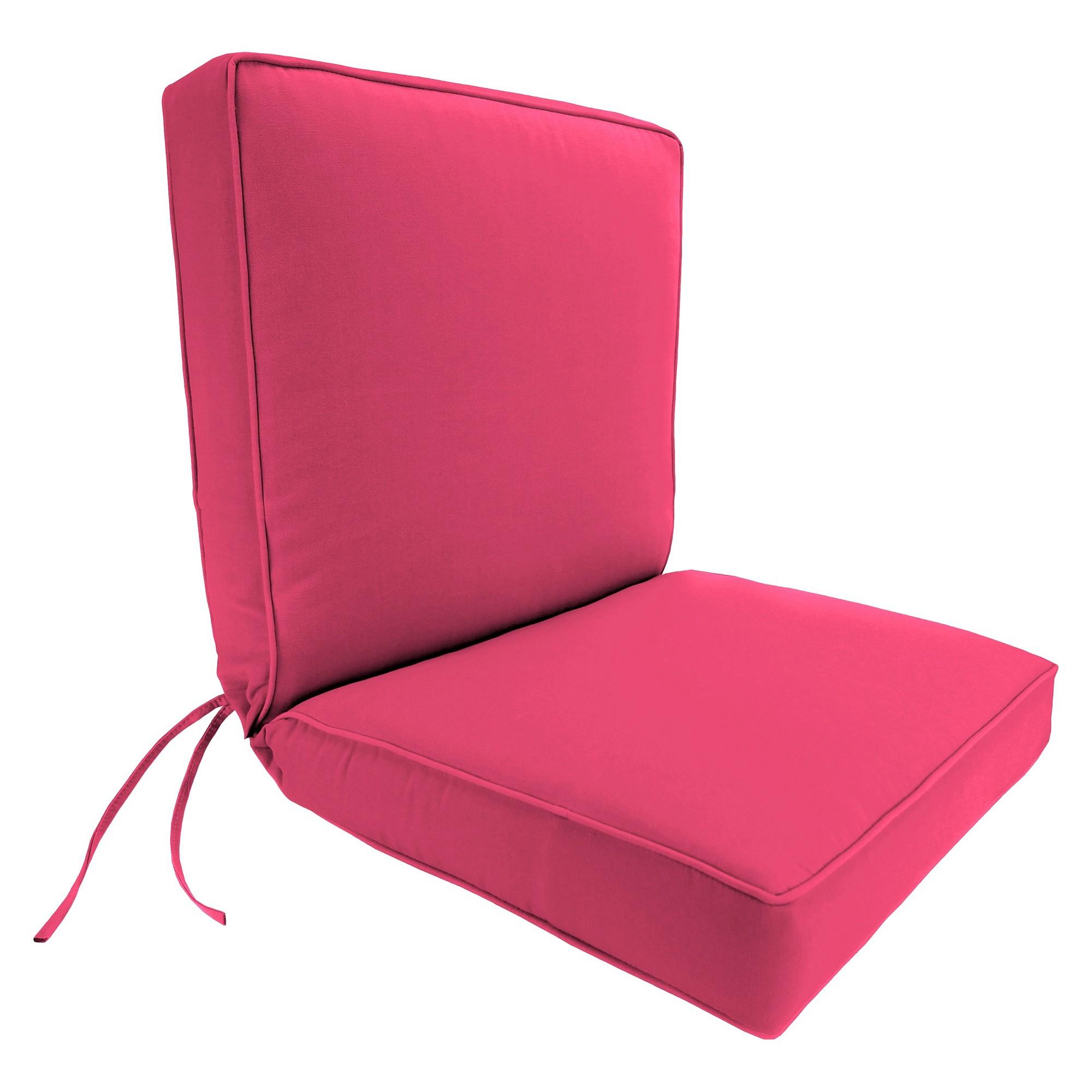 Jordan Boxed Edge Chair Cushion Hot Pink Dining chair