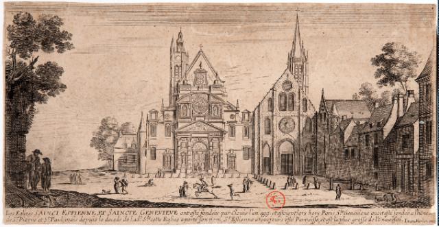 L'église paroissiale de Saint-Etienne-du-Mont (à gauche) et l'Abbatiale Sainte-Geneviève (à droite)