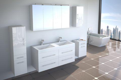 Badmöbel Set 5tlg DUBAI - Hochglanz weiß - 120 cm