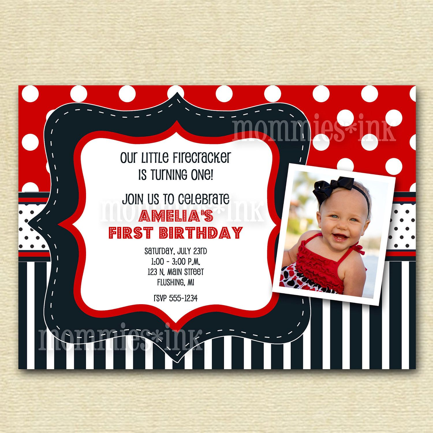 Red White and Blue Baby Shower or Birthday Invitation - PRINTABLE ...