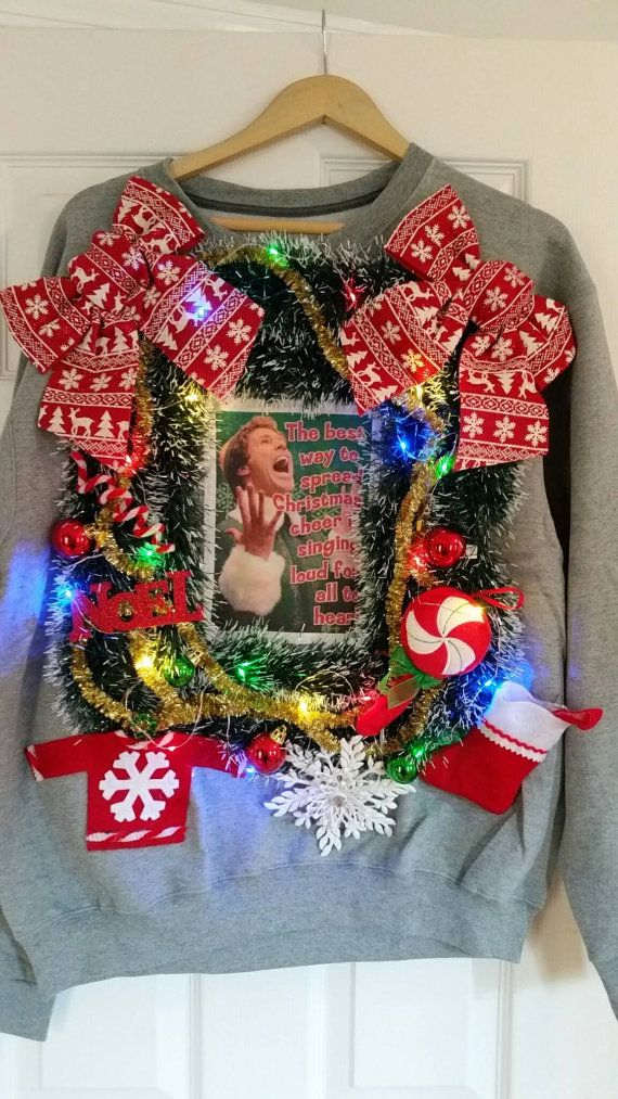 Ugly Christmas Sweater Buddy The Elf Elf Movie Sweater With