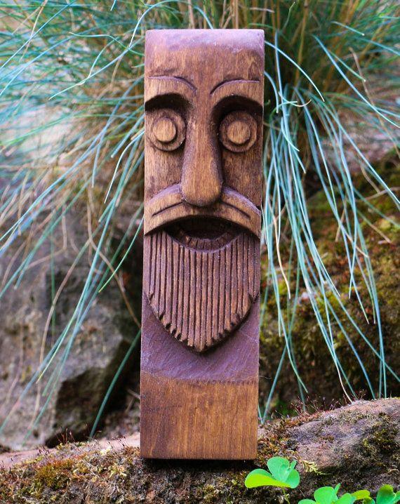 Odin Carved Wooden Statue Figure Viking God Vikings Idol