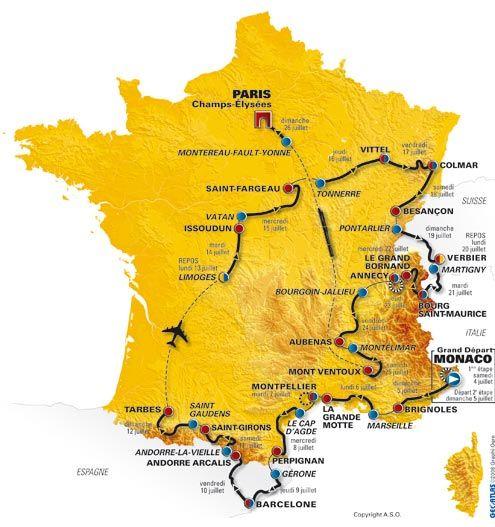 Tour De France Route Map 2009 Tour De France Route De France Tour