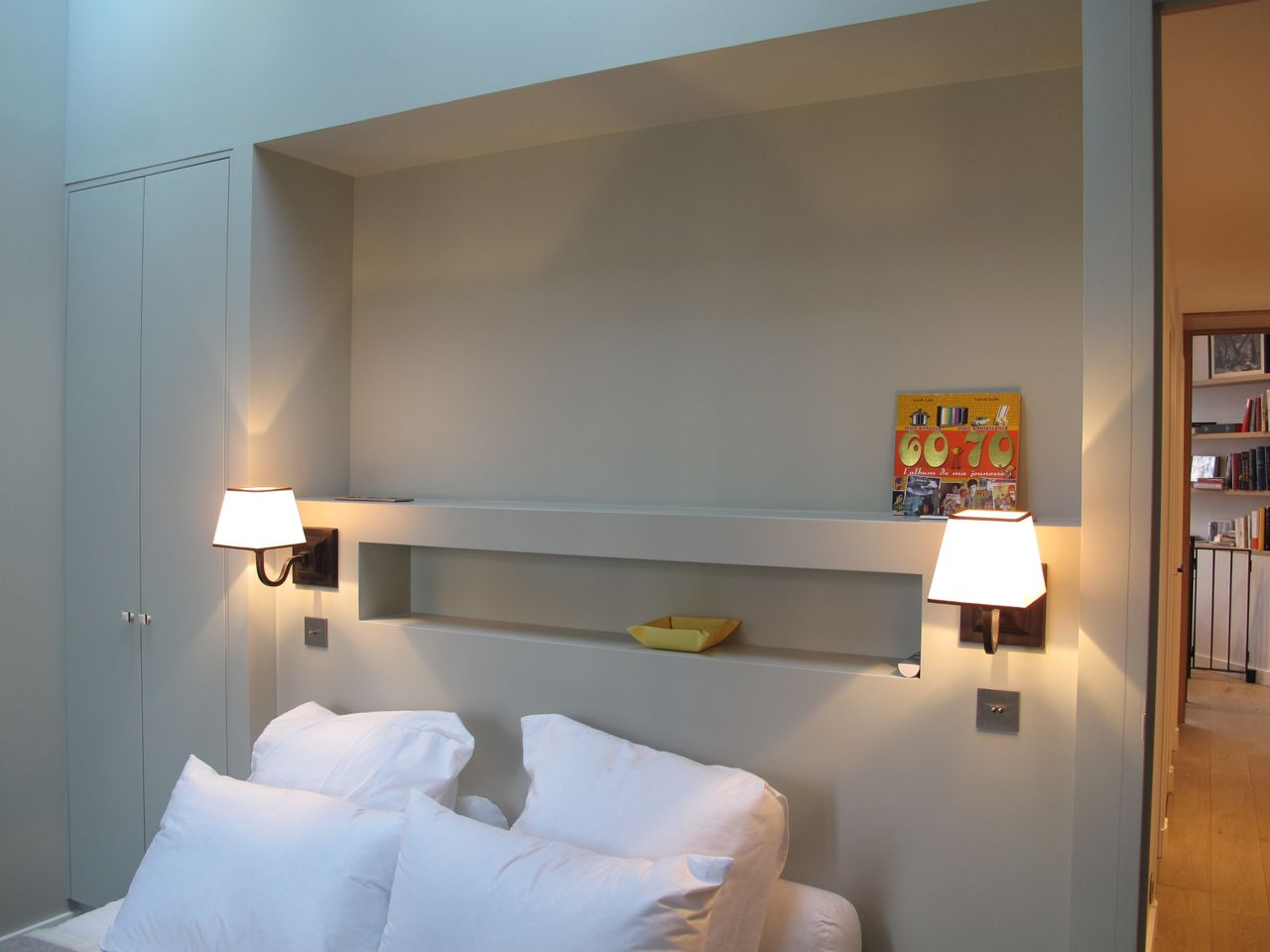 id e t te de lit niche parents mod le chambre pinterest idee tete de lit tete de et parents. Black Bedroom Furniture Sets. Home Design Ideas