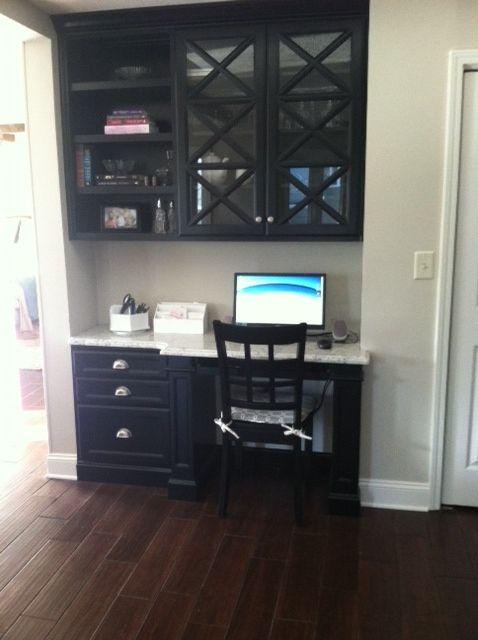 Custom Amish Built In Desk W Granite Countertop Built In Desk Home Decor Granite Countertops