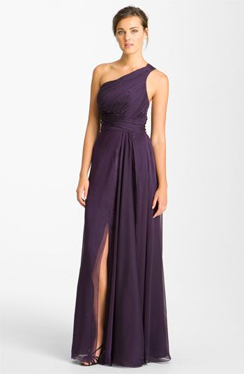 ML Monique Lhuillier Bridesmaids Pleated One Shoulder Chiffon Gown (Nordstrom Exclusive) available at #Nordstrom