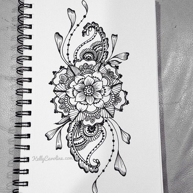 Sketched henna design with flowers and paisleys. i want this as a ...