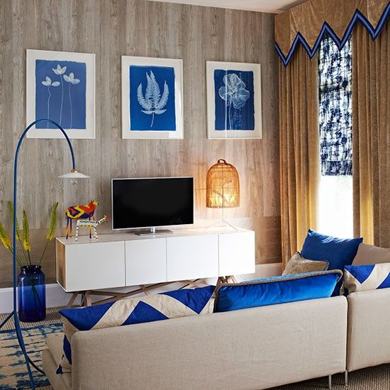 Cobalt Blue And Beige Living Room // Living Room Part 66