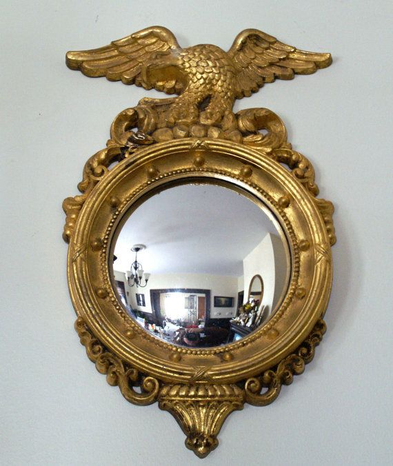 Convex Wall Mirror vintage federal style convex wall mirror with eagle motif and