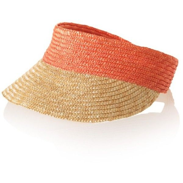 Straw Visor (145 VEF) ❤ liked on Polyvore featuring accessories, hats, straw hat, visor hats, straw visor hat, sun visor hat and sun visor