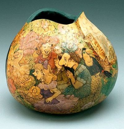amazing piece of gourd pyrography