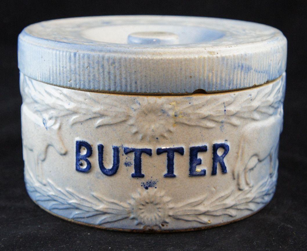Blue And White 1800s Primitive Blue Saltglazed Cow Lattice American Stoneware Butter Crock Butter Crock Pottery Jars Stoneware