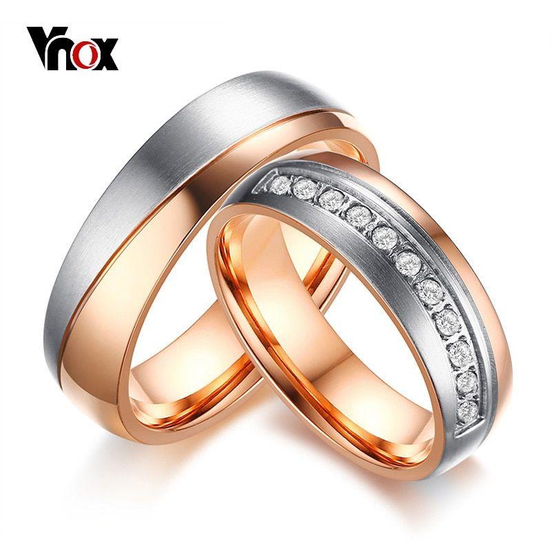 Trendy Aaa Cz Stones Wedding Rings For Women Men Rose Gold Color