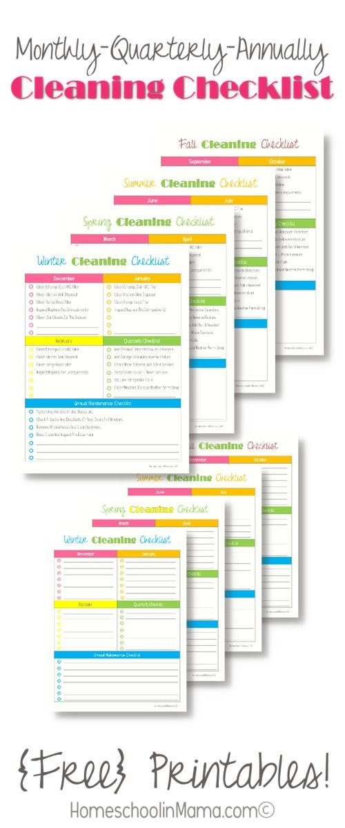 Monthly/Quarterly/Annually Cleaning Checklist for your home - free