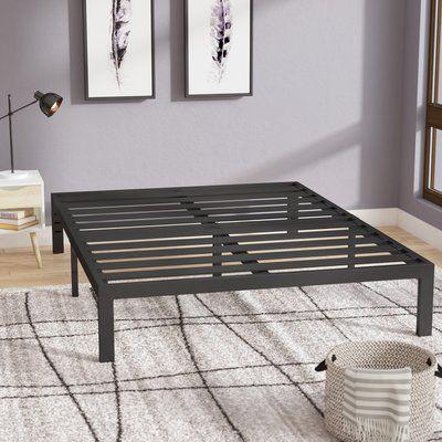 Latitude Run Branson Black Metal Platform Bed Frame Size Twin In