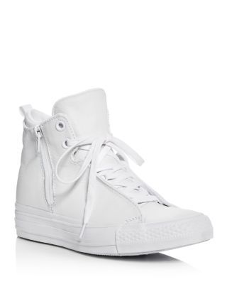 CONVERSE Chuck Taylor All Star Selene Leather High Top Sneakers. #converse #shoes #sneakers #whiteallstars