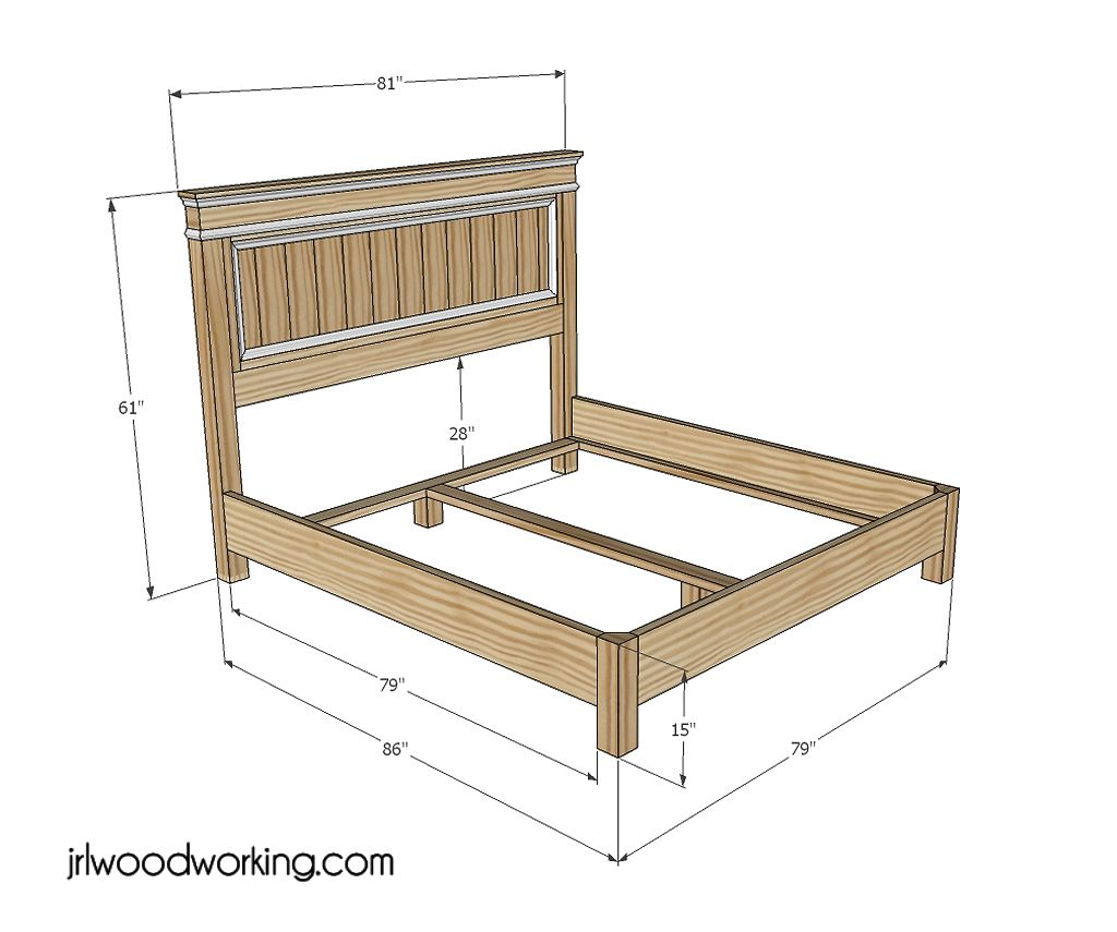 Diy king bed frame - Jrl Woodworking Has Free Furniture Woodworking Plans With Step By Step Instructions For The King Size Bed Frameking Size Headboardking