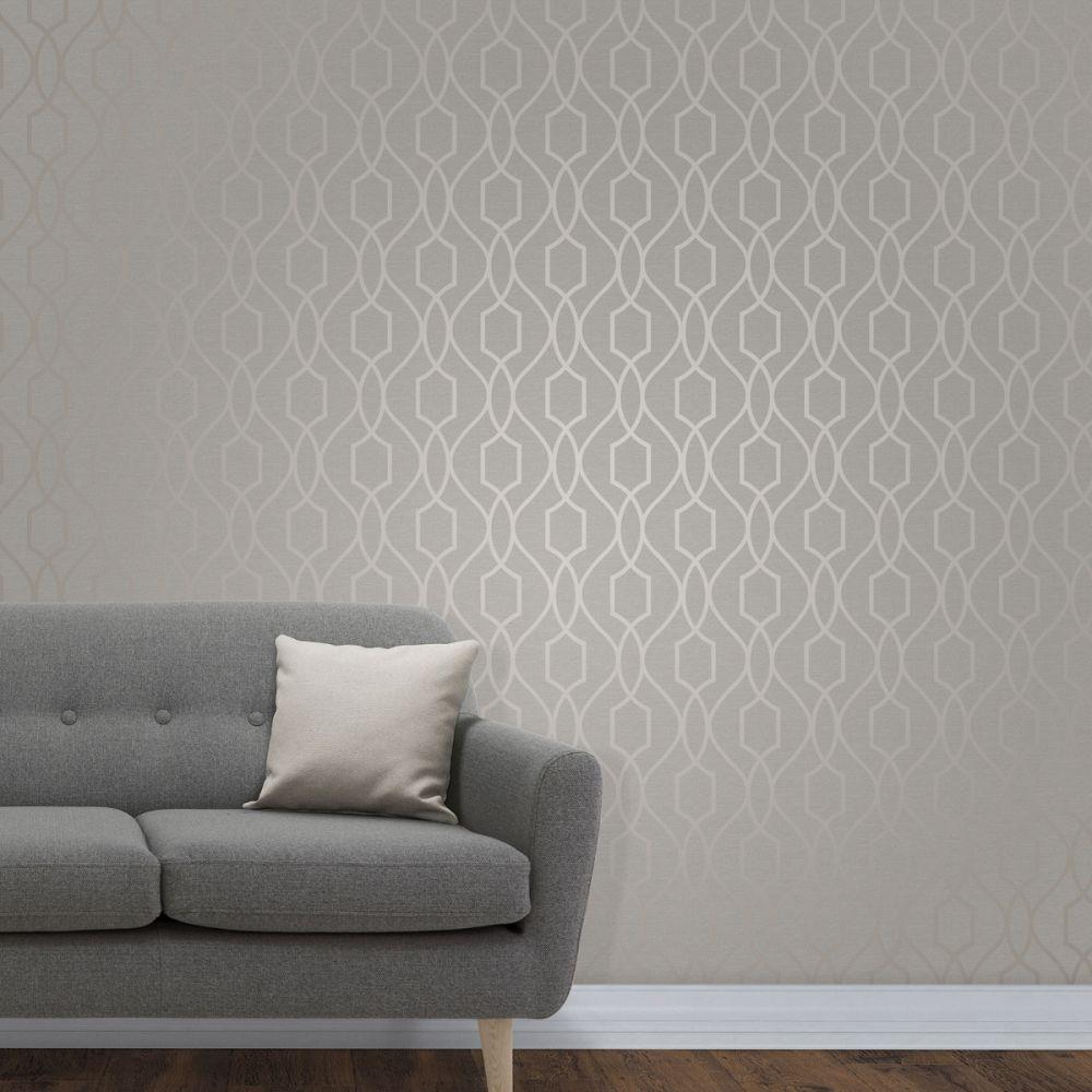 Apex Geometric Trellis Wallpaper Grey And Taupe Fine Decor Fd4