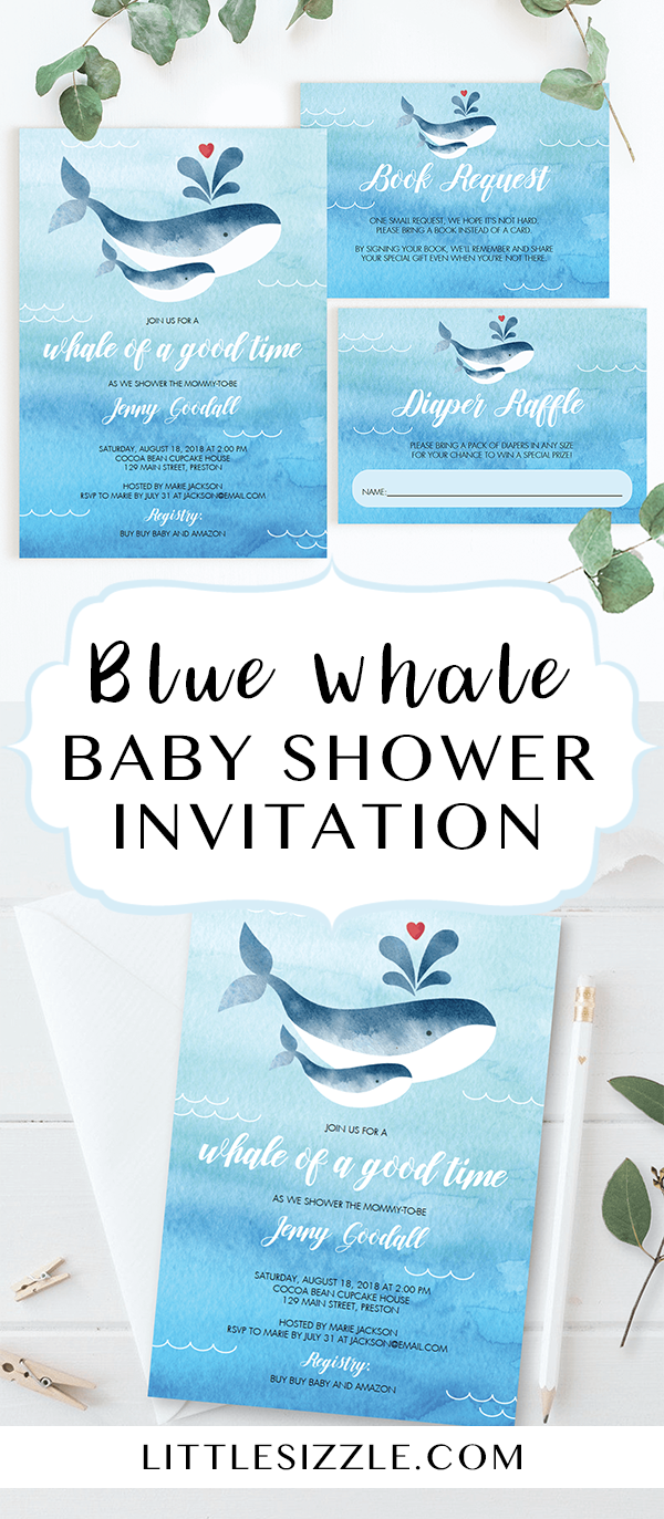 """Whale baby shower ideas by LittleSizzle. Celebrate the arrival of a baby  boy with a blue whale themed baby shower! Invite your guests for a """"whale  of a good ..."""