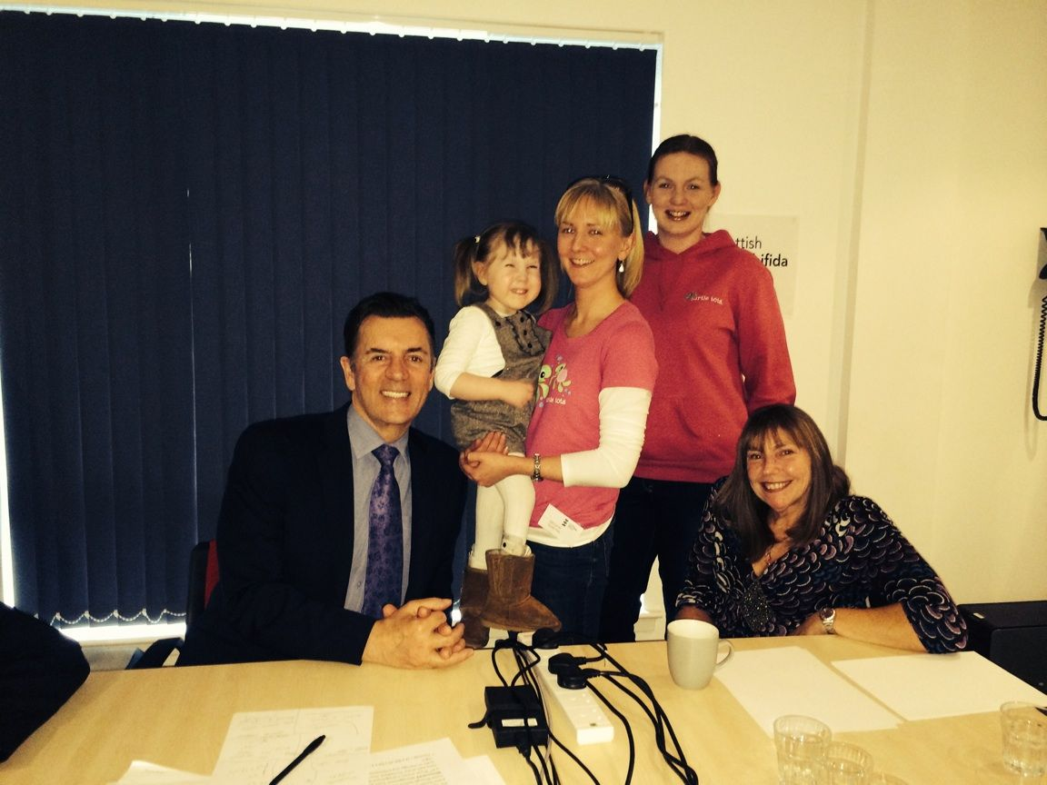 Gill from Turtle Tots Fife and Kirsty from Turtle Tots West Lothian & Perthshire, meeting Duncan Bannantyne having won the Dragon's Dare competition and raised over £8000 for the SSBA.