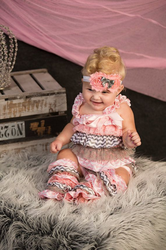 Pink and Gray Chevron Print Petti Lace Romper by BetterThanBows, $40.00